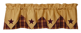 primitive country farmhouse cabin Heritage Star Burgundy & Tan pointed VALANCE - $36.95