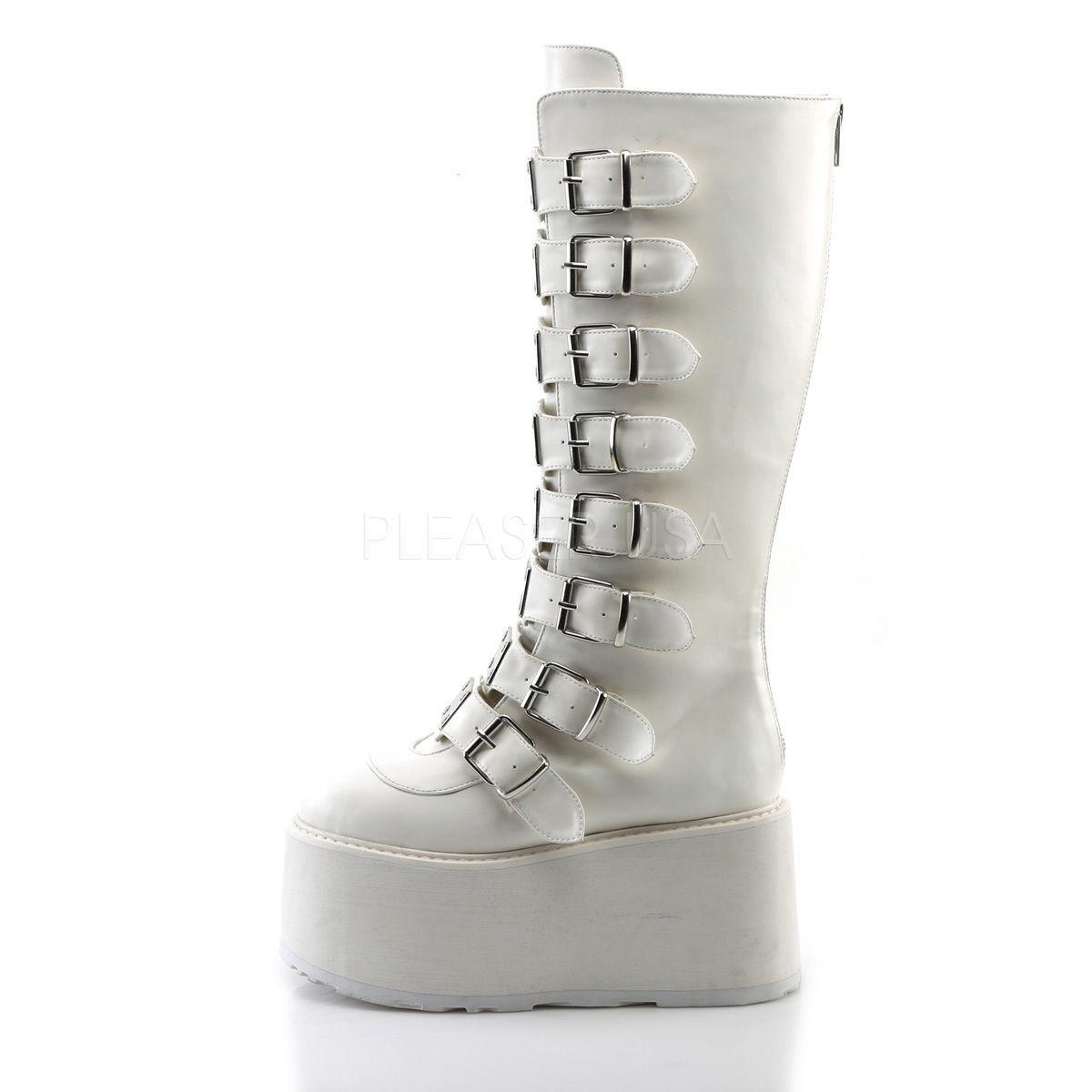 e5641140e973 DEMONIA DAMNED-318 Punk Gothic Buckle Strap White Platform Women s Knee  Boots