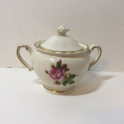 "Primary image for Sugar Bowl with Lid Rosalie Federal Shape Syracuse China 4.5"" tall"