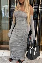 Trendy Backless Grey Ankle Length Dress image 2