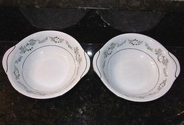 Noritake Leonore Cereal Bowl Pair Lugged Handles 2 Bowls 6676 Hard To Find - $30.15