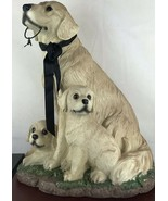"LARGE YELLOW LABRADOR RETIEVER WITH PUPPIES FIGURINE / 19"" Tall - $46.75"
