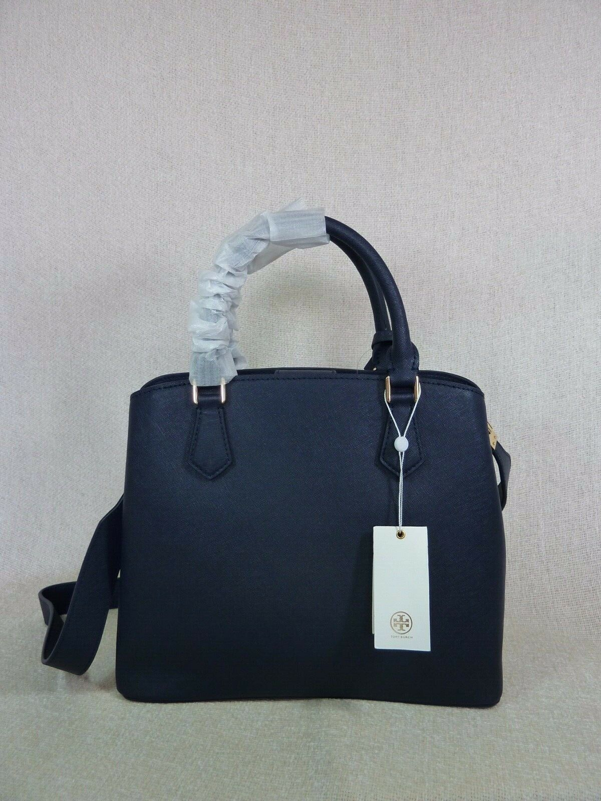 NWT Tory Burch Navy Saffiano Leather Robinson Triple-compartment Tote $458 image 4