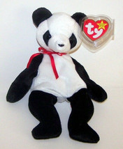"""Ty 1997 FORTUNE  Black & White Panda Bear with Red Ribbon Tie New 8"""" Plush  - $6.93"""