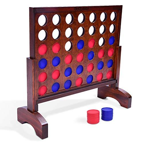 GoSports Giant Dark Wood Stain 4 in a Row Game - 2 Foot Width - Huge 4 Connect F