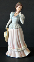 Vintage Porcelain Hand Painted MADELINE Statue Victorian Woman w/ Flower... - $28.49