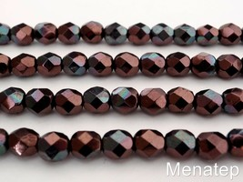 25 6mm Czech Glass Fire Polished Beads: Luster - Metallic Amethyst - $1.92