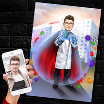 Super Doctor Caricature, Custom Modern Day Superhero Portrait, Front Lin... - $35.14+