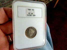 "BETTER DATE 1887 LIBERTY ""V"" NICKEL NGC PF64 - $303.74"