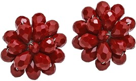 Dazzling Deep Red Chrysanthemum Floral Fashion Crystal Clip On Earrings - $66.82