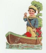 Vintage Valentine Card Boy in Boat Unused 1920's Die-Cut for Child - $8.90