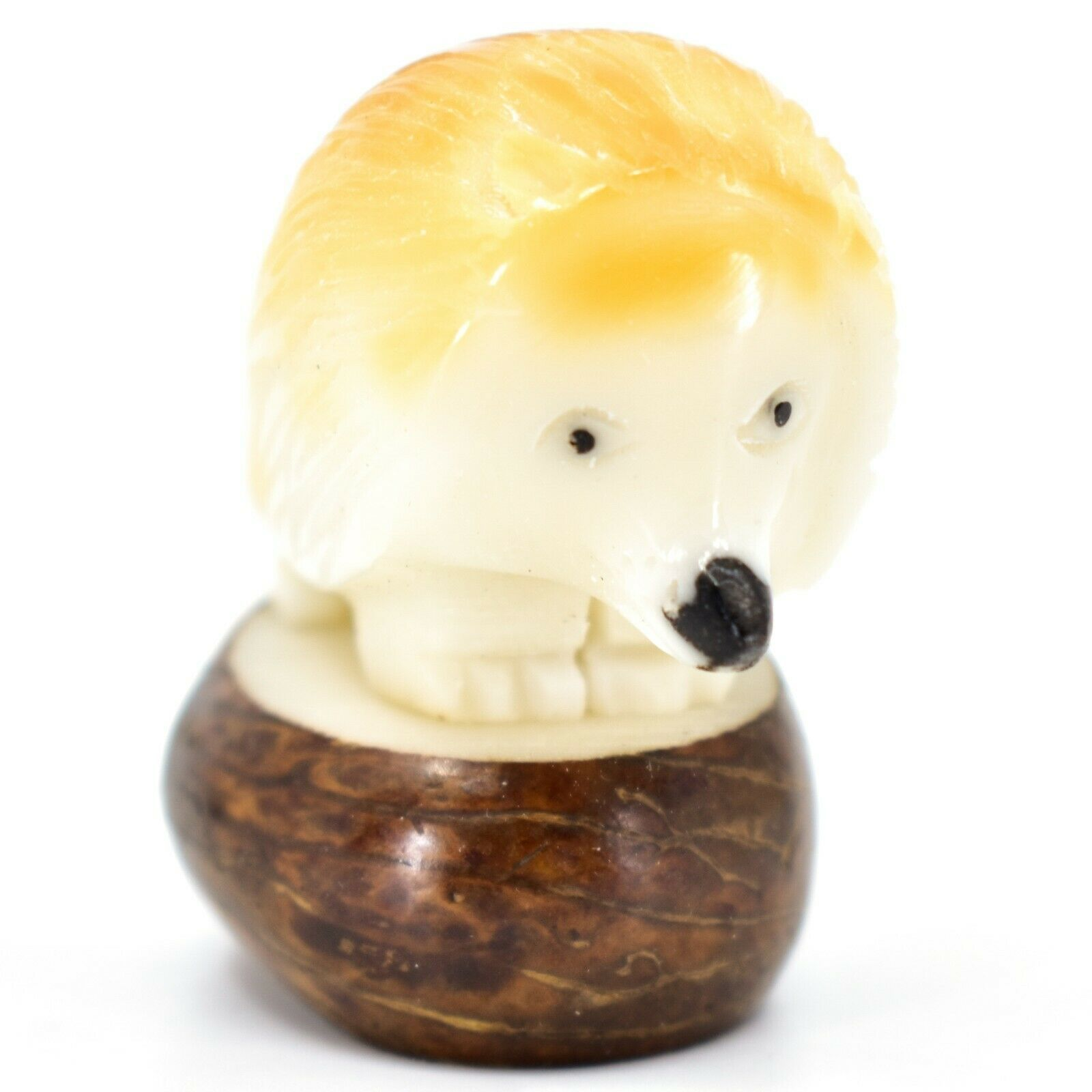 Hand Carved Tagua Nut Carving Hedgehog Figurine Made in Ecuador