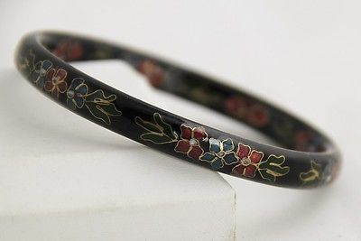 VINTAGE Jewelry BLACK CHINESE CLOISONNE ENAMEL FLOWER DESIGN BANGLE BRACELET