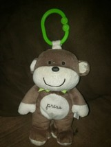 Carters MONKEY 72086 Musical Crib Plush Toy Brown/Tan with Green Ribbon & Ring - $28.01