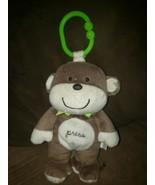 Carters MONKEY 72086 Musical Crib Plush Toy Brown/Tan with Green Ribbon ... - $28.01