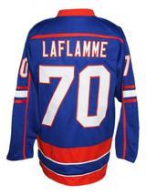 Custom Name # Halifax Highlanders Retro Hockey Jersey Blue Laflamme #70 Any Size image 4