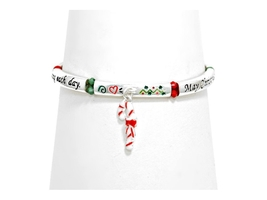 Silver Burnished Christmas Stretch Bracelet - $10.95