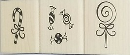 Denami Designs Christmas Rubber Stamps Mounted on Wood, Set of 3