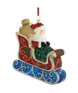 Reed & Barton Glass Santa In Sleigh Ornament Glitter Toys Classic Christ... - $98.99
