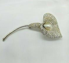 """Estate Napier Calla Lily Flower Rhinestone Faux Pearl Silver Tone Brooch Pin 4"""" - $24.99"""