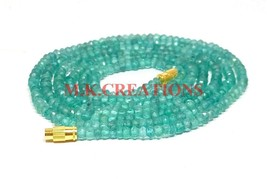"Natural Apatite Gemstone 3-4mm Rondelle Faceted Beads 21"" Long Beaded Ne... - $20.09"