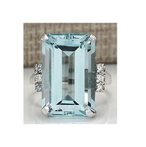 Vintage Women 925 Silver Aquamarine Gemstone Ring Wedding Jewelry Size 8 - $5.34