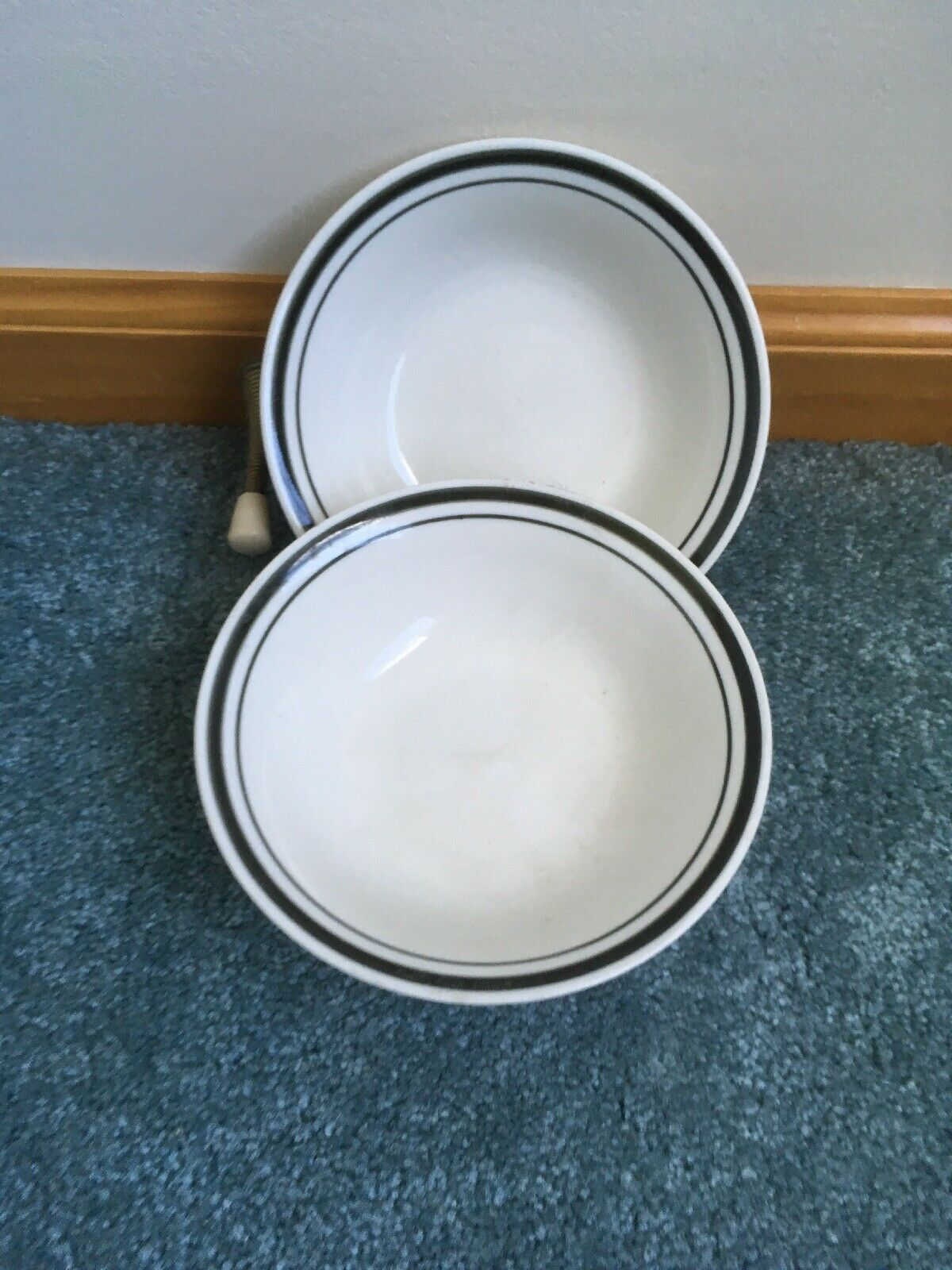"""GIBSON SOUP OR CEREAL BOWL WHITE WITH BLACK RINGS 6 3/8"""" SET OF 2 - $11.75"""
