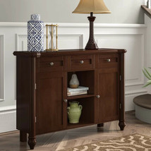 Brown Sideboard Dining Buffet Kitchen Storage Cabinet Server Console Sol... - $332.40