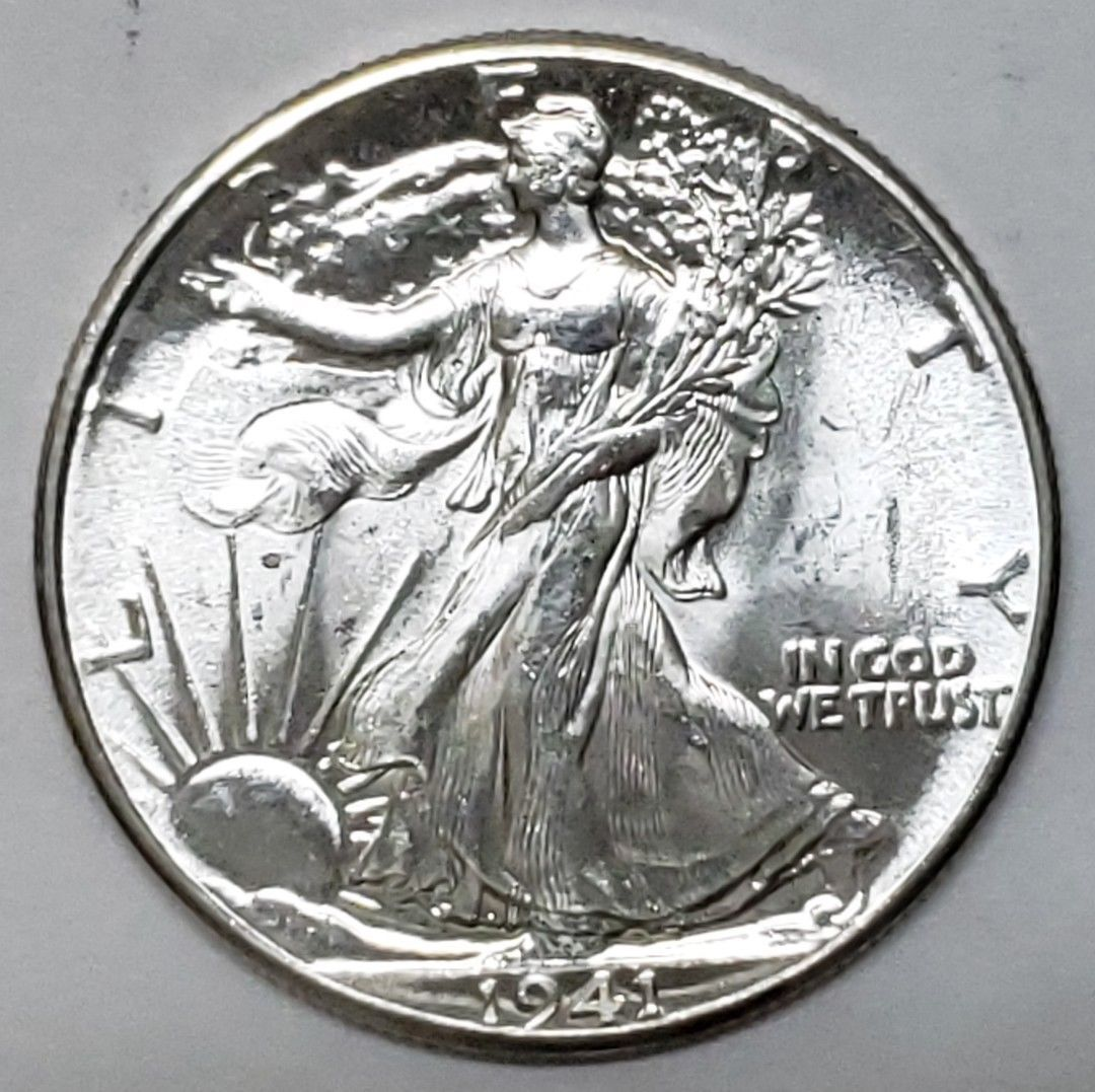 1941 Walking Liberty Half Dollar 90% Silver Coin Lot# E 149