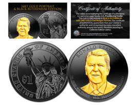 Black Ruthenium 2016 RONALD REAGAN Presidential Dollar Coin w/ 24K Gold ... - $19.75