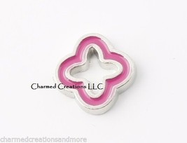 10pc Lot Pink Quatrefoil Christian Symbol Floating Charm F/ Glass Memory Locket - $8.90