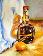 BOTTLE AND TANGERINE, Original painting by Akimova, food, still life - $18.00
