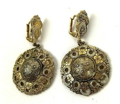 Vintage Earrings Damascene Style Danglers Gold Tone Boho hippie Costume ... - $14.84
