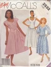 McCALL'S VINTAGE 1986 PATTERN 2532 SIZE 10 MISSES' DRESS 3 VARIATIONS - $3.90