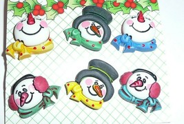 Cute Holiday Snowmen Plastic Shank Buttons - 6 diff designs Buttons Snow... - $5.49