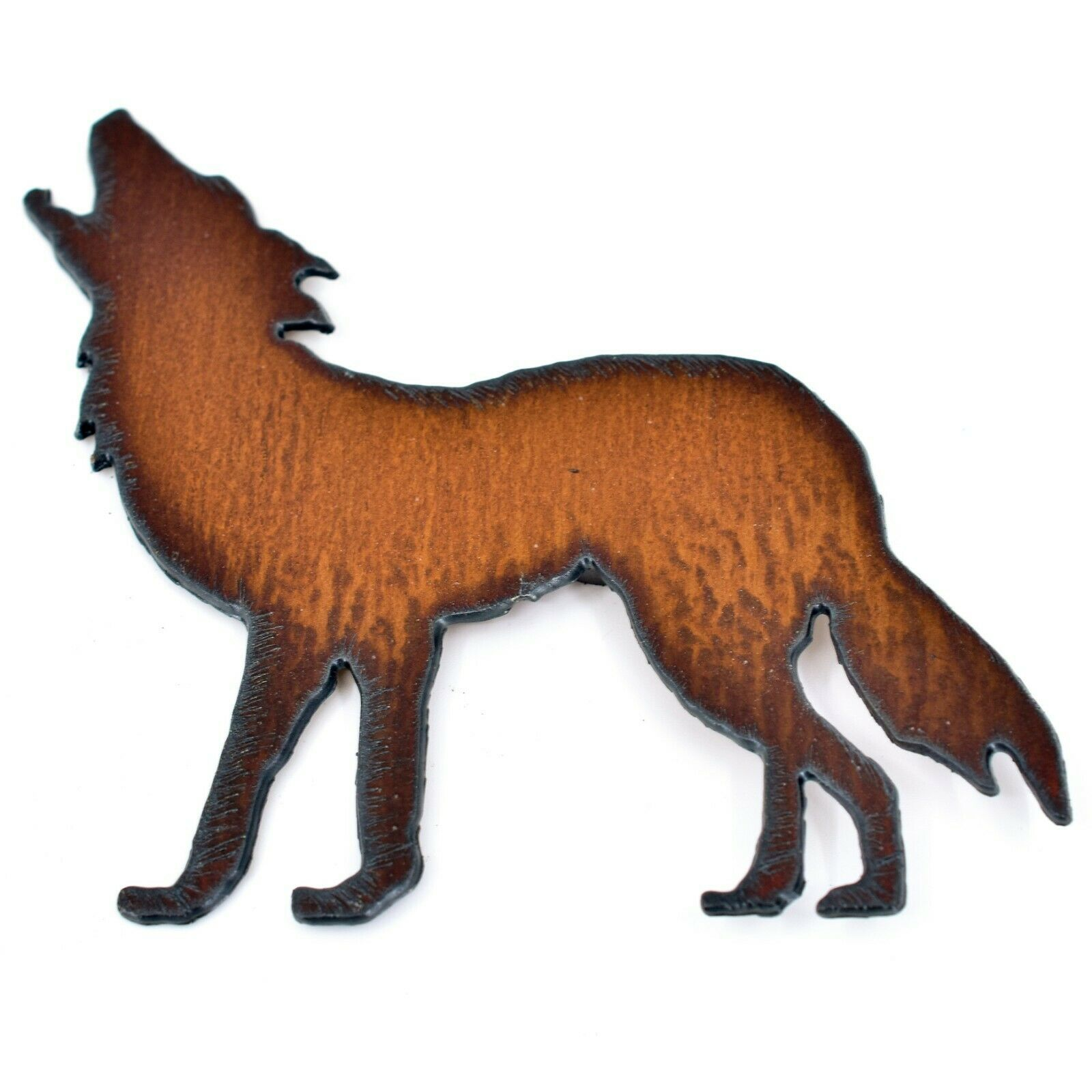 Rustic Country Rusted Patina Iron Metal Cutout Howling Wolf Refrigerator Magnet