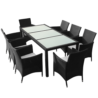 Garden Rattan Dining Set 8 Seats Cushions Chairs Glass Top Table Patio Furniture