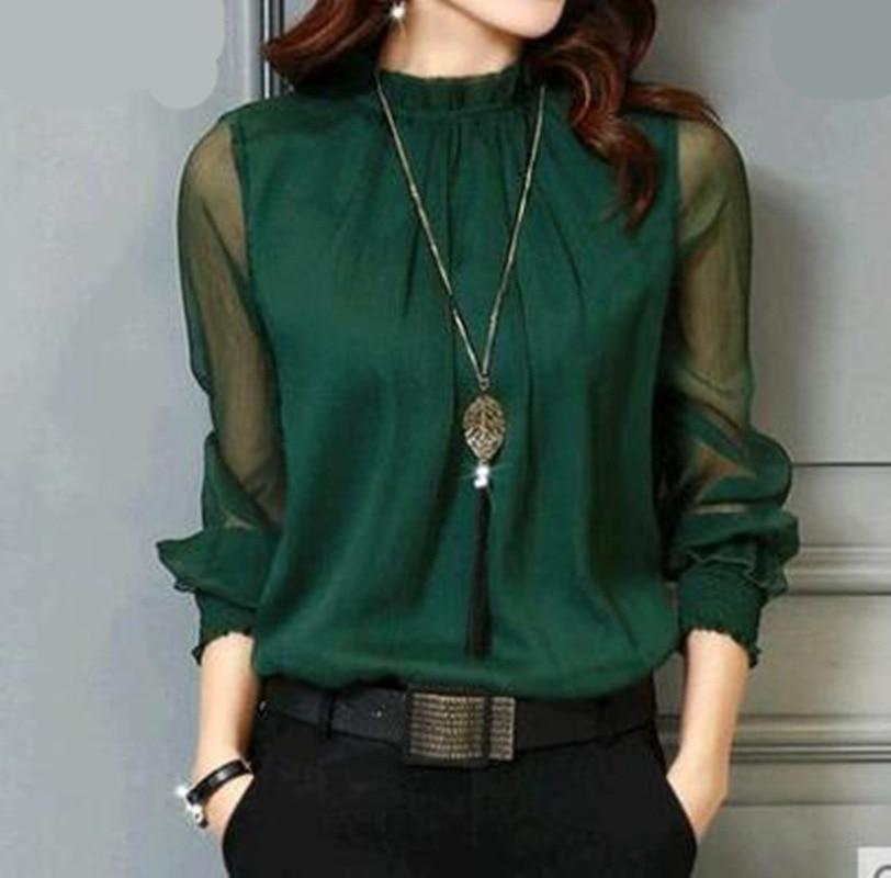Primary image for Chiffon Blouse New Women Tops Long Sleeve Stand Neck Work Wear Shirts Elegant La