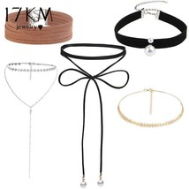 17KM® Fashion Sequins Choker Set Punk Leather Long Necklace Multi Layer ... - $5.65+