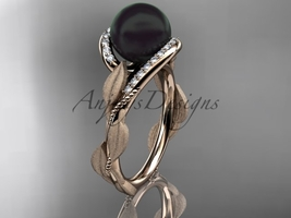 Black pearl engagement rings 14kt rose gold diamond leaf wedding ring ABP64 - $1,250.00