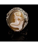 Erotic Mermaid ring / sterling poison ring - nude cameo / carved Mermaid... - $245.00