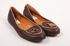 Lanvin Two Tone Brown Textured Leather Tassel Trim Loafer Flats SZ 36.5 - $145.00