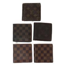 LOUIS VUITTON Monogram Damier Lot of 5 Bulk Marco Wallet Brown Used Auth... - $246.00
