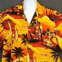 Royal Creations Hawaiian Shirt 2XL Woodie Surf Board Beach Palm Trees Ye... - $32.85