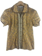 Keris Fashion Batik Print Blouse Shirt L Large Womens Yellow Brown Cotto... - $29.70