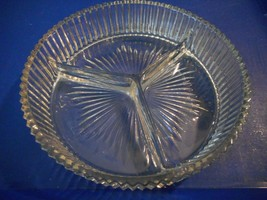 Vintage Clear Glass Round Divided Dish 3 Sections Relish Nuts Or Candy R... - $13.91