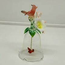Glass Bird and flower Design Bell with cardinal Clapper (g) - $13.86
