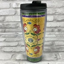 Starbucks Barista 2002 16 oz Travel Tumbler Flowers Bees Yellow Red Green  - $12.59