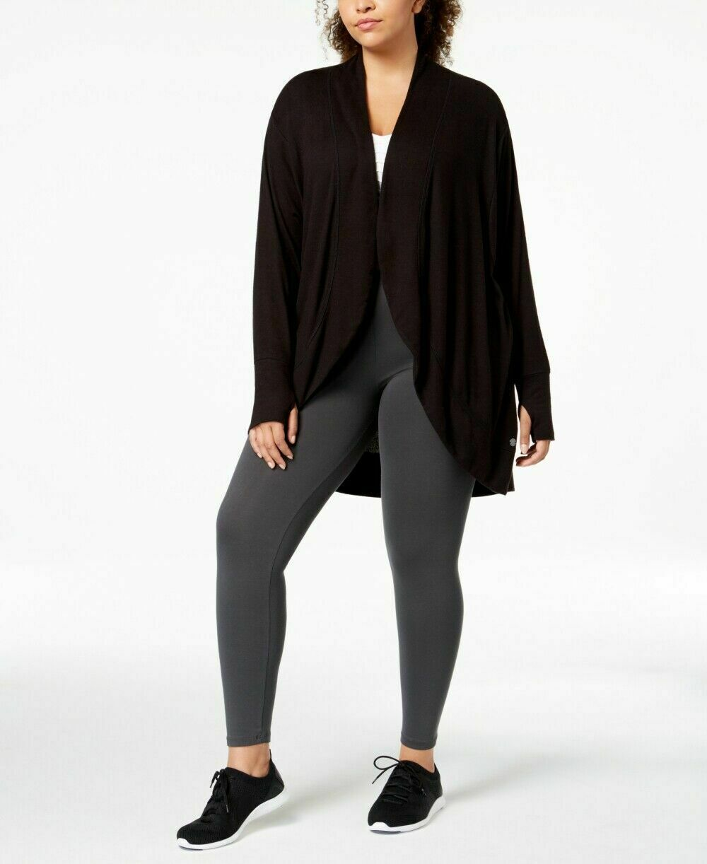 Ideology Womens Open-Front Wrap Noir Size 2X - $22.71