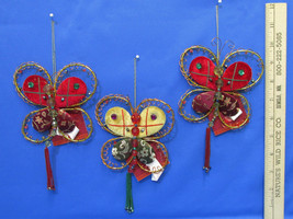 New Russ Berrie Jewels Of Winter Fabric Butterfly Ornaments Red Green Tan Lot 3 - $14.84
